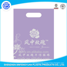Costom logo printed plastic bag with die cut handle