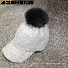 White Pompom Cap Women′s Warm Wool Baseball Cap