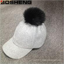 Bonnet de baseball blanc en laine chaude de Pompom Cap