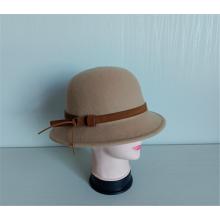 Женская фетровая шляпа из 100% шерсти с кожаным ремнем