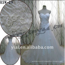 RSW-29 2011 Hot Sell New Design Ladies Fashionable Elegant Customized Beautiful Pearl Beaded And Stereo Flowers Bridal Dress