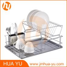 Support à vaisselle à 2 niveaux avec porte-couverts et planche à égoutter