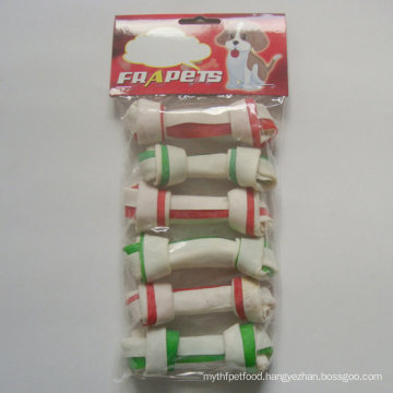 "Dog Food 4""-4.5"" Double Colors Rawhide Knot Bone Dog Chew"