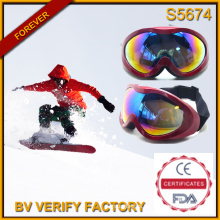 S5674 Latest Designed Big TPU Material Frames Ski Goggles with Anti-Fog Lens