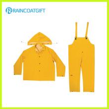 Rainsuit de los colores del PVC del color amarillo 3PCS del PVC