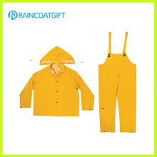 Color amarillo PVC poliester 3PCS Men′s traje para lluvia