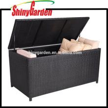 Tronco de aluminio decorativo al aire libre del almacenamiento del amortiguador de la rota y de mimbre del marco