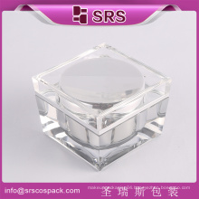 Luxury 50ml transparent square acrylic cosmetic jar