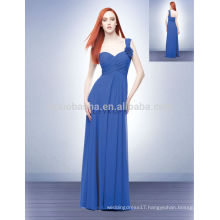 2014 Blue One-Shoulder Long Empire Bridesmaid Dress Sweetheart Full-length Flower Criss-Cross Pleats Chiffon Prom Gown NB0706