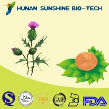 La poudre d'extrait de silymarine / extrait de chardon de lait d'extrait de fines herbes aide à protéger le foie et à réduire la graisse de sang