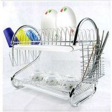 Porte-vaisselle en acier inoxydable 2 niveaux, étagère de rangement, étagère de vidange, porte-vaisselle