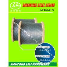 ASTM A475 Galvanzied Aço Strand (CLASSE A EHS)