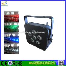 6 * 4W RGBA ou RGBW 4in1 LED bateria alimentado sem fio DMX LED Flat PAR luzes
