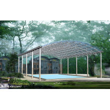 Telhado do quadro do espaço da piscina da casa pré-fabricada da construção do período grande