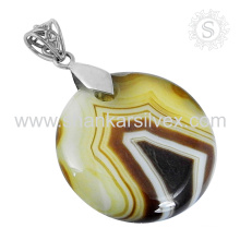 Gorgeous striped onyx silver pendant 925 sterling silver gemstone handmade jewelry wholesaler