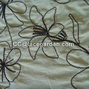 Beautiful Lily Design Ribbon Embroidery Fabric