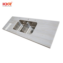 Custom marble pattern resin solid surface kitchen countertop  for project
