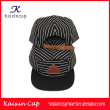 OEM wholesale cotton beautiful plain bill 5 pieces campingr caps with leather holes closure back