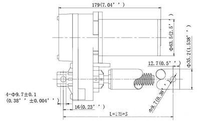 ZQTG08 dc linear actuator/ dimension