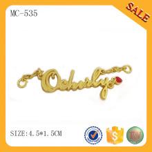 MC535 Diseño de la etiqueta de la caída de la letra del color del oro, placa de identificación del metal para la ropa / bolso