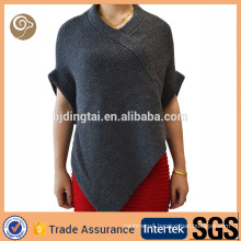 Women fashion knitted wholesale cashmere poncho