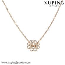 44173 colar de corrente de ouro xuping jóias de moda 18 k delicat tipo de flor pingente banhado a ouro colar de jóias