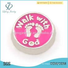 Zinklegierungsjungen und Mädchenabdruckcharme, kundenspezifische rosafarbene Metallcharme für Medaillon