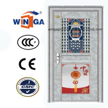 China Style Exterior Entrance Porta de vidro de segurança de aço inoxidável (W-GH-23)