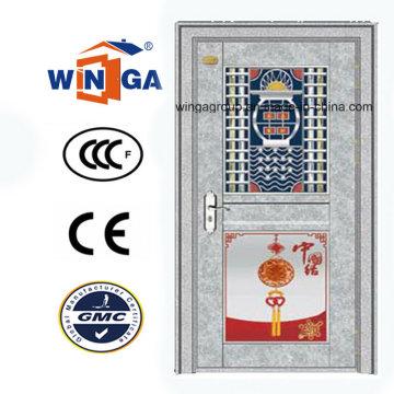 China-Art-Außeneinlass-Edelstahl-Sicherheits-Glas-Tür (W-GH-23)