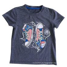 T-shirt das crianças do bebê da lavagem da neve na roupa dos miúdos com qualidade Sqt-615 do algodão