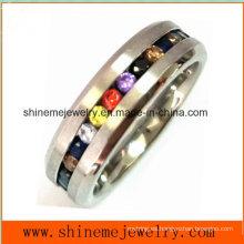 Joyería de moda con múltiples colores piedras anillo de dedo