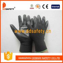 Schwarzes Nylon mit schwarzem PU-Handschuh Dpu117