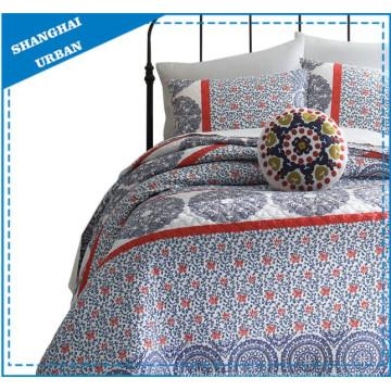 Blau-weißes Polyester-Quiltset mit Porzellandruck Print
