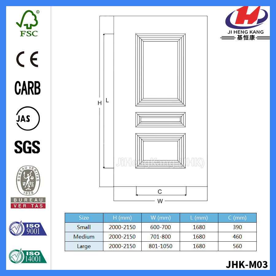 JHK-M03 4MM MDF White Primer Door Skin