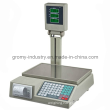 Electronic Digital Price Computing Scale with Printer with Pole Display