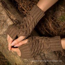 Großhandelsdame Finger-Weniger grundlegende gestrickte Arm-Wärmer-Acryl gestrickte lange Handschuhe