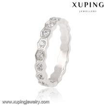 13871 Moda Pretty CZ ronda anillo de dedo de la joyería de acero inoxidable plateado para las mujeres