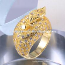 CZ Micro Pave Setting joyería de plata 925 anillo de plata esterlina plateado 18k anillo de plata