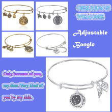 Adjustable Silver/Gold Plated Brass Wire Bangle Bracelet with Charms