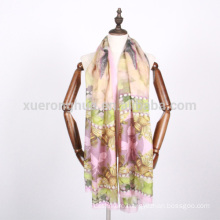 bee and animal digital printed merino wool scarf for women