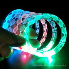 cores de pulseira de tubo led mudando a luz