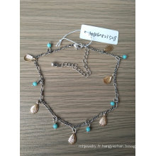 Bohême bleu perles et chaîne de cheville or Shell Beach