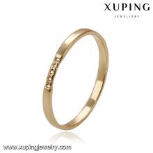 14168 Xuping en gros simple imitation bijoux environnement Cuivre plaine 18k plaqué or anneaux conceptions
