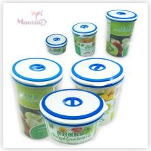 Lancheira redonda do alimento, recipiente de alimento plástico Fresco-Mantendo-se
