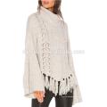 Mais recente projeto branco sino manga borla pulôver camisola de gola alta para as mulheres