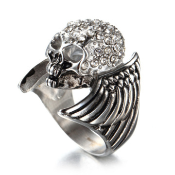 Horror Full Diamond wing skull ring
