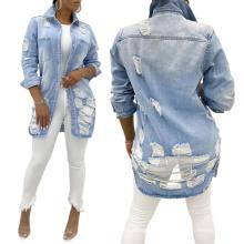 Newest Style Lady Jean Jacket Long Sleeve Woman Denim Jacket
