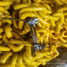 G80 soldado con autógena acero cadena enlace con pintado amarillo (6mm - 42mm) para la elevación de