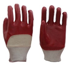 China Factory Labor Professional Half Cotted PVC Red/Blue Gloves
