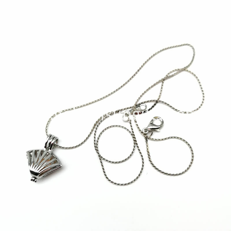 Silver Plated Pearl Shell Cage Pendant Necklace